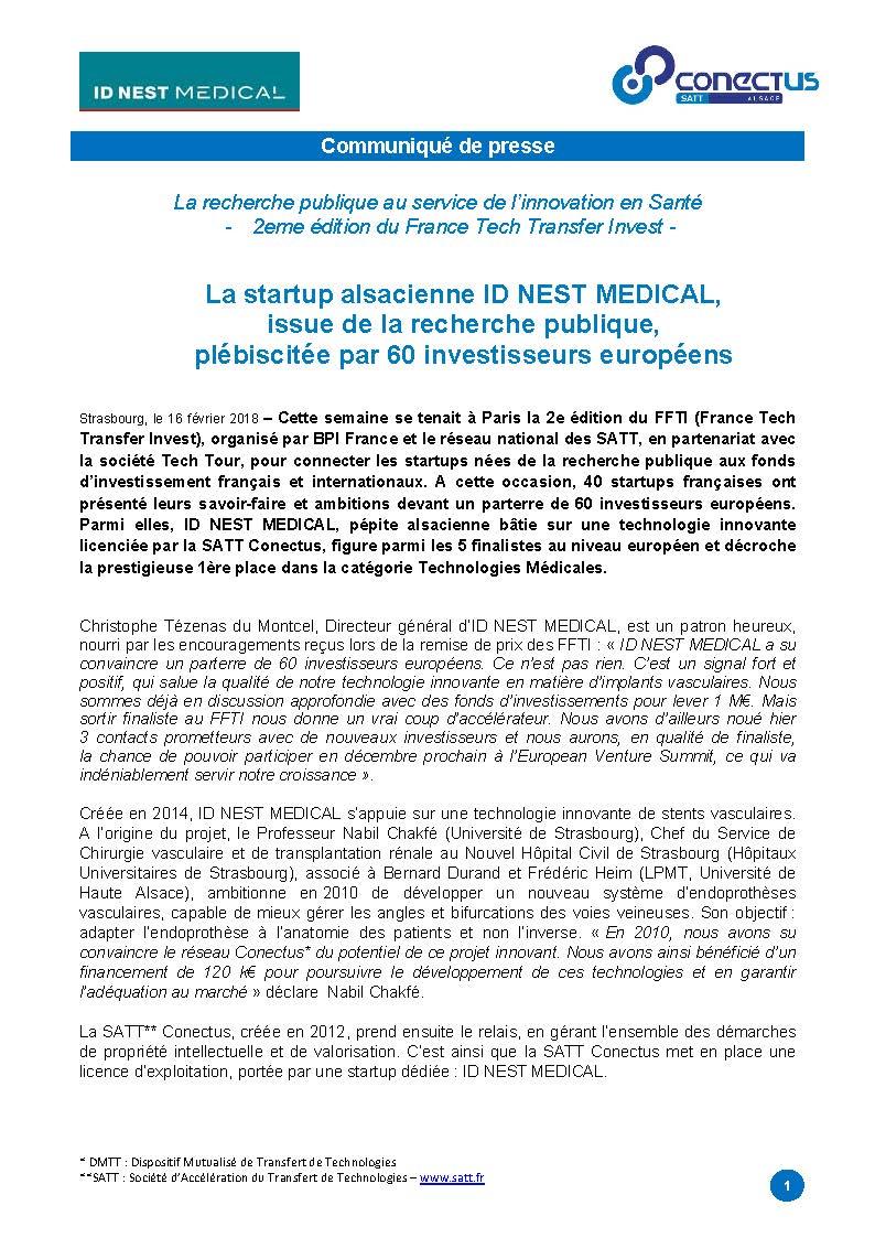 1er prix européen pour la start-up ID-NEST Medical